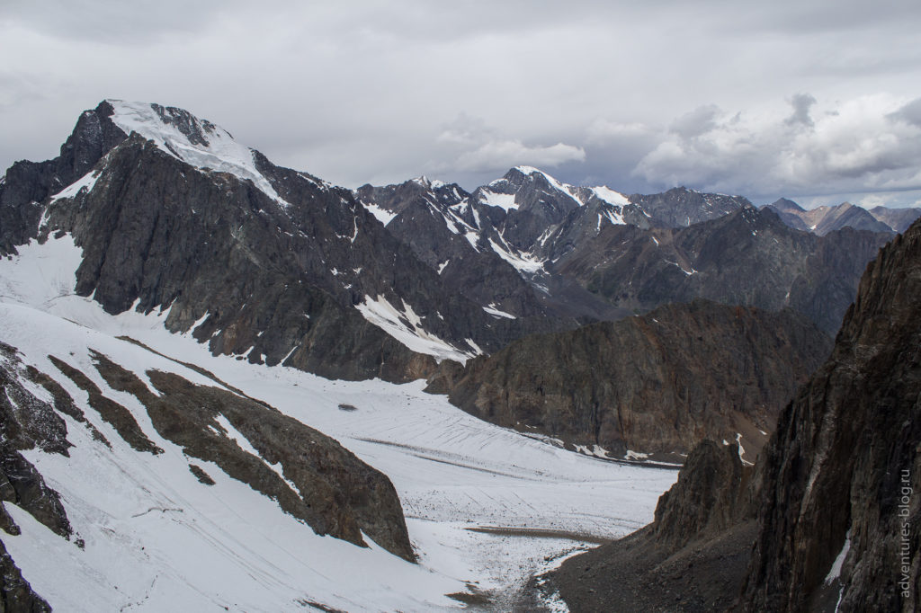 Вид с перевала Абыл-оюк на ледник Мечта