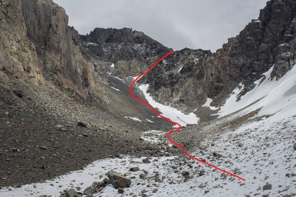 Путь спуска с перевала Абыл-оюк к леднику Мечта